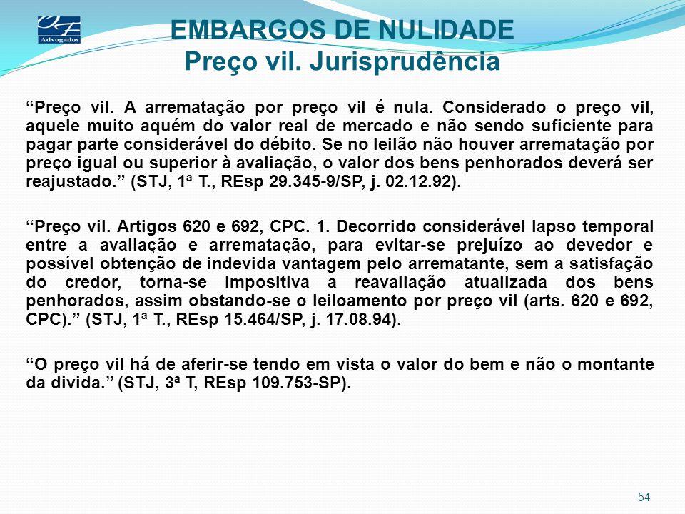 EMBARGOS DE NULIDADE Preço vil. Jurisprudência