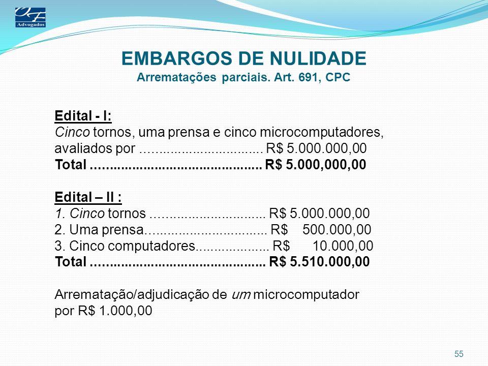 EMBARGOS DE NULIDADE Arrematações parciais. Art. 691, CPC