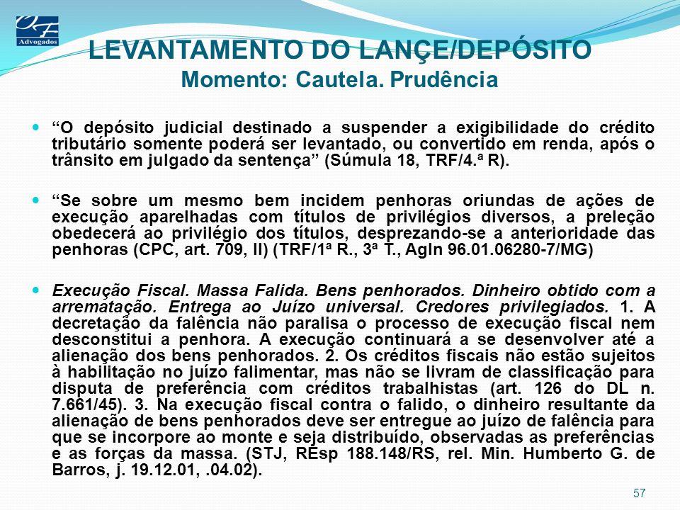 LEVANTAMENTO DO LANÇE/DEPÓSITO Momento: Cautela. Prudência