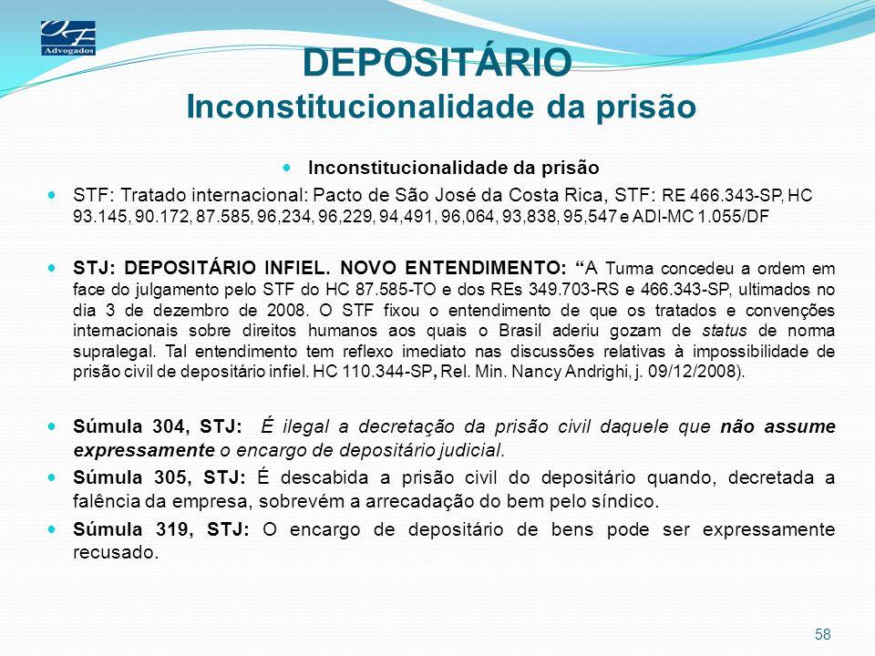 DEPOSITÁRIO Inconstitucionalidade da prisão