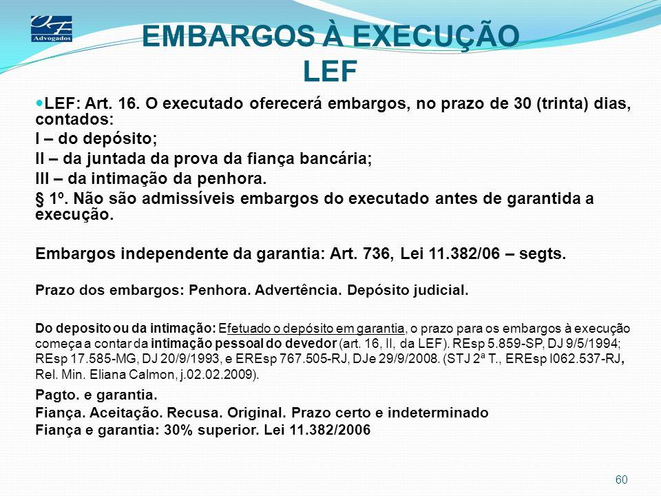 EMBARGOS À EXECUÇÃO LEF