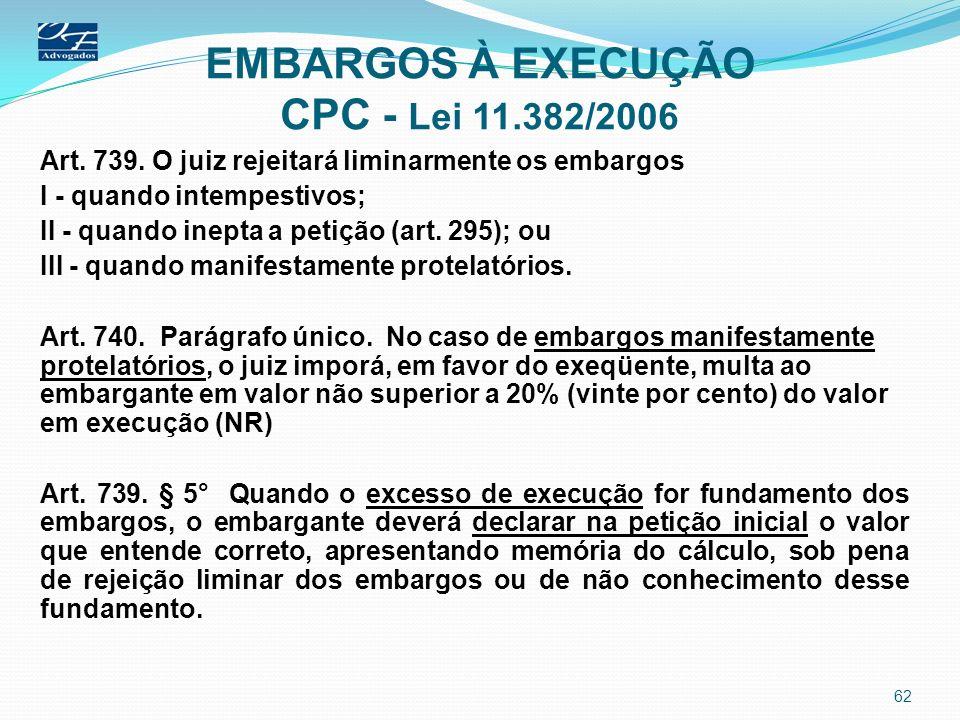 EMBARGOS À EXECUÇÃO CPC - Lei 11.382/2006