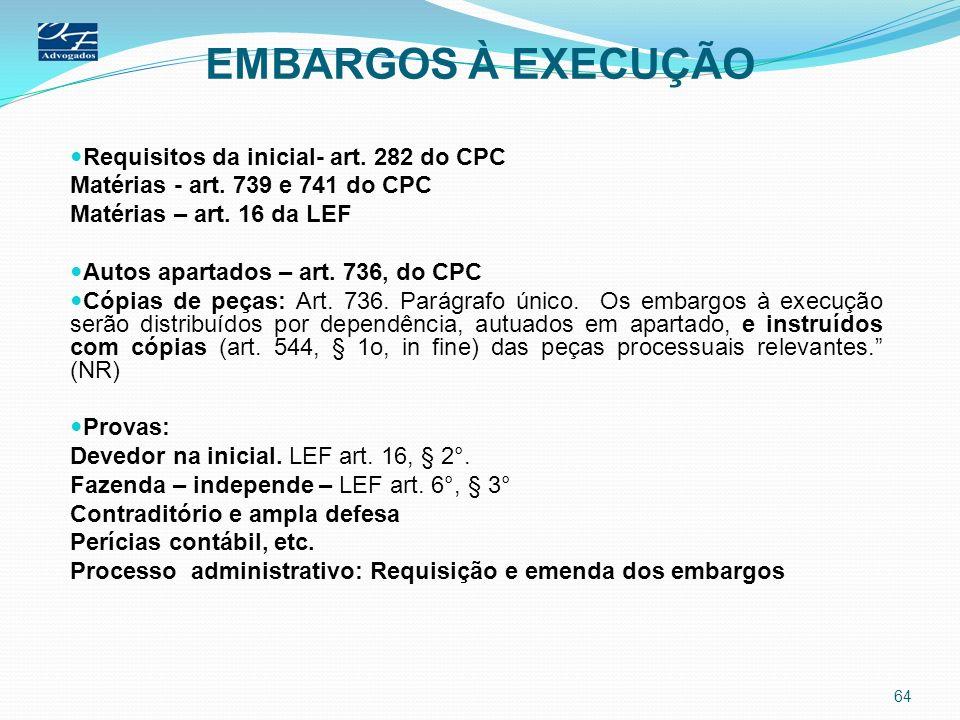 EMBARGOS À EXECUÇÃO Requisitos da inicial- art. 282 do CPC