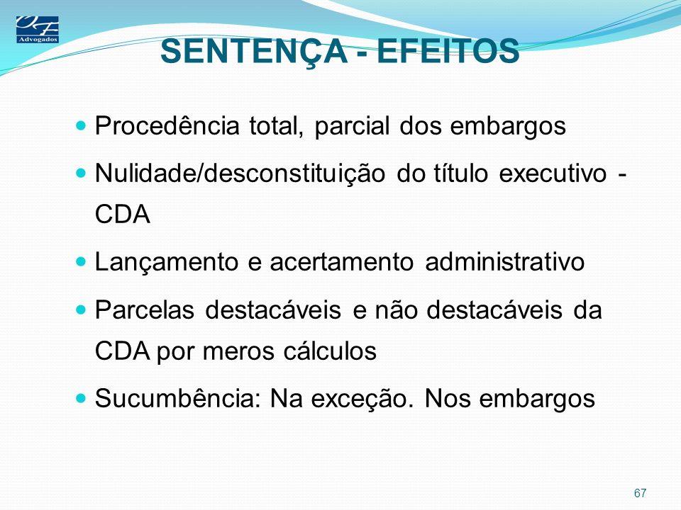 SENTENÇA - EFEITOS Procedência total, parcial dos embargos
