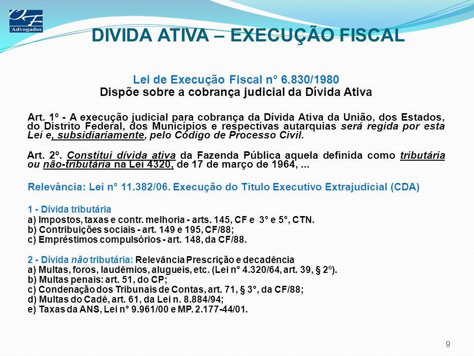 DIVIDA ATIVA – EXECUÇÃO FISCAL