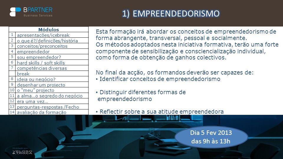 EMPREENDEDORISMO Dia 5 Fev 2013 das 9h às 13h