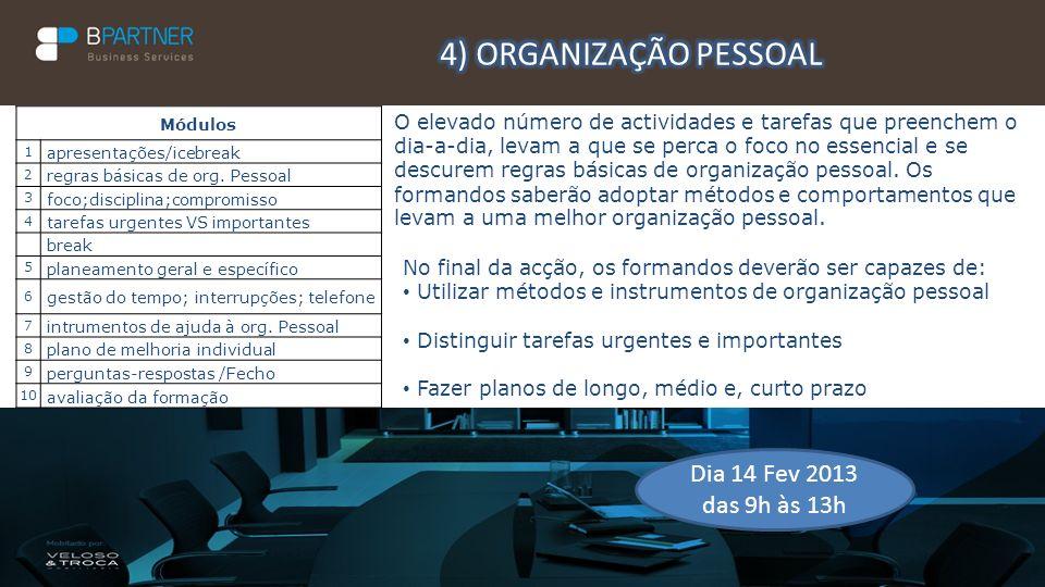 4) ORGANIZAÇÃO PESSOAL Dia 14 Fev 2013 das 9h às 13h