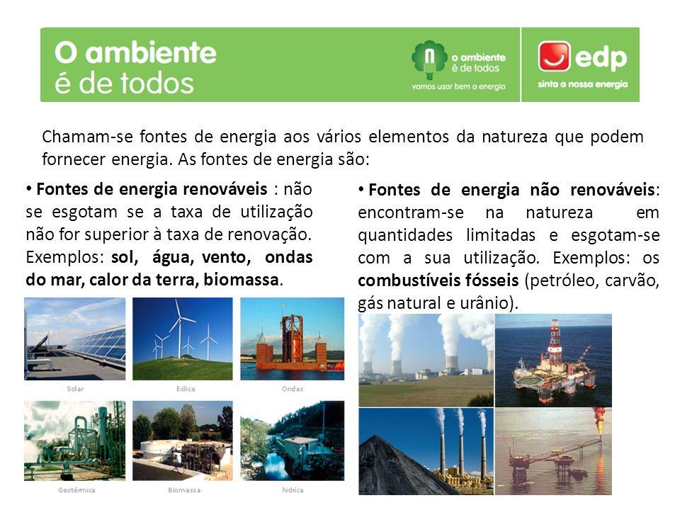 Fontes de energia renováveis : não se esgotam se a taxa de utilização não for superior à taxa de renovação. Exemplos: sol, água, vento, ondas do mar, calor da terra, biomassa.