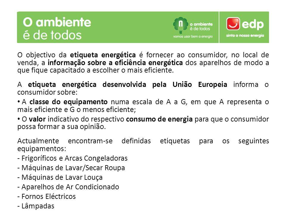 O objectivo da etiqueta energética é fornecer ao consumidor, no local de venda, a informação sobre a eficiência energética dos aparelhos de modo a que fique capacitado a escolher o mais eficiente.