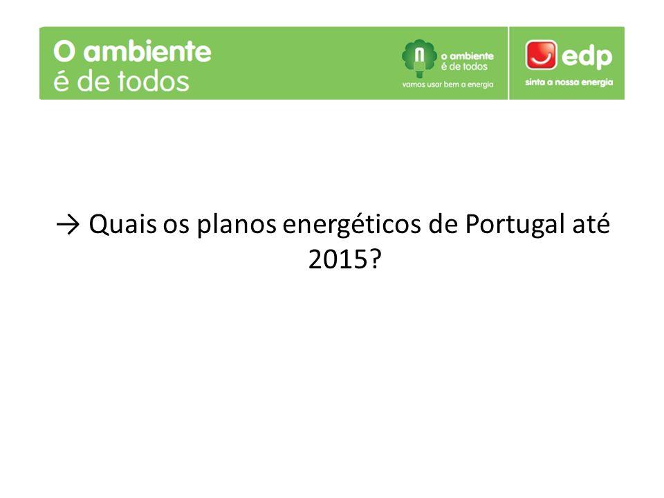Quais os planos energéticos de Portugal até 2015