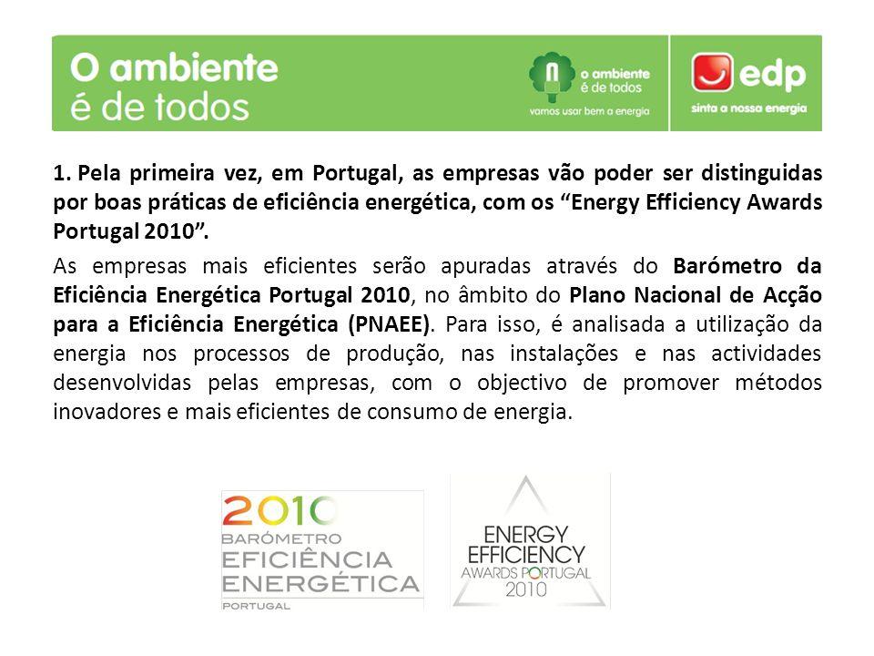 Pela primeira vez, em Portugal, as empresas vão poder ser distinguidas por boas práticas de eficiência energética, com os Energy Efficiency Awards Portugal 2010 .