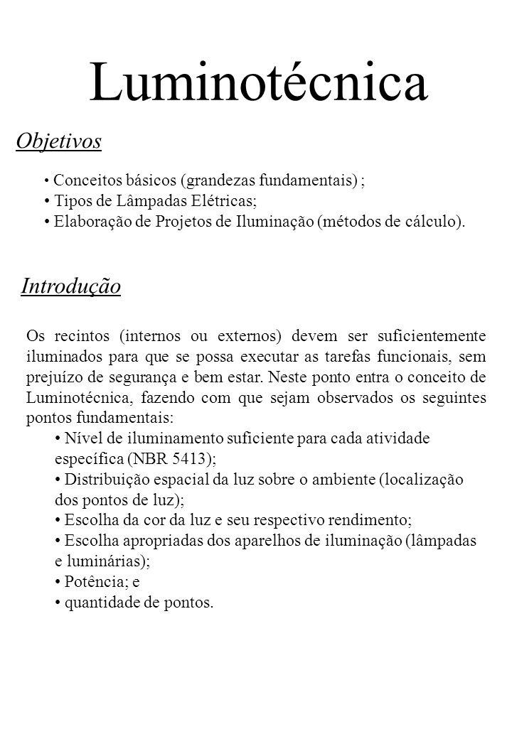 Luminotécnica Objetivos Introdução Tipos de Lâmpadas Elétricas;