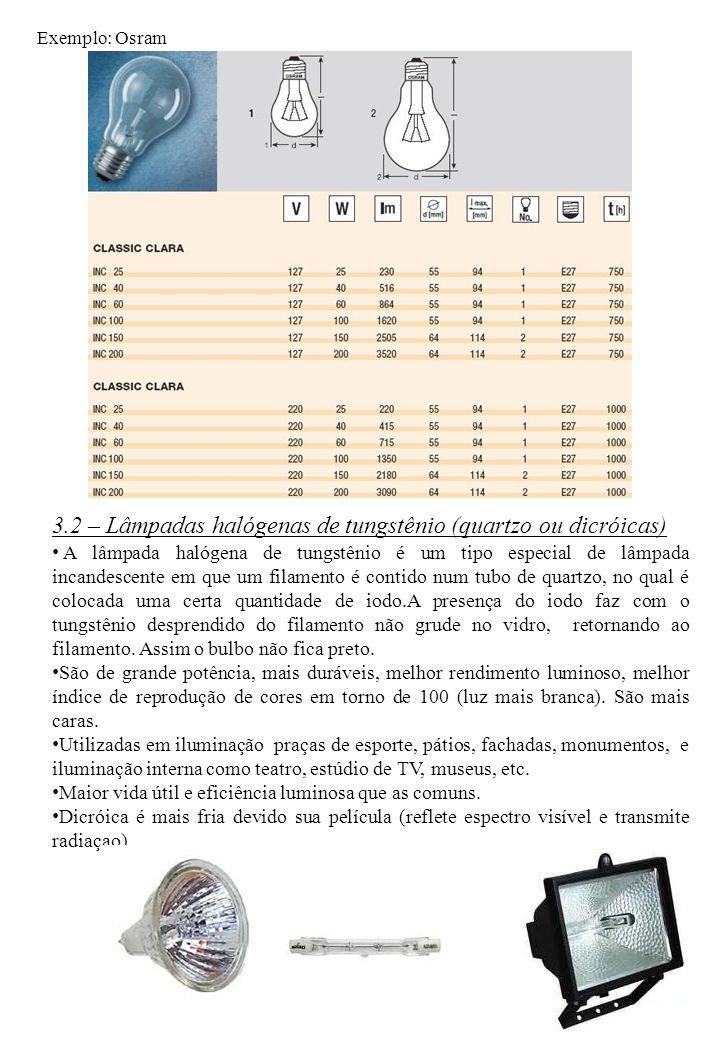 3.2 – Lâmpadas halógenas de tungstênio (quartzo ou dicróicas)