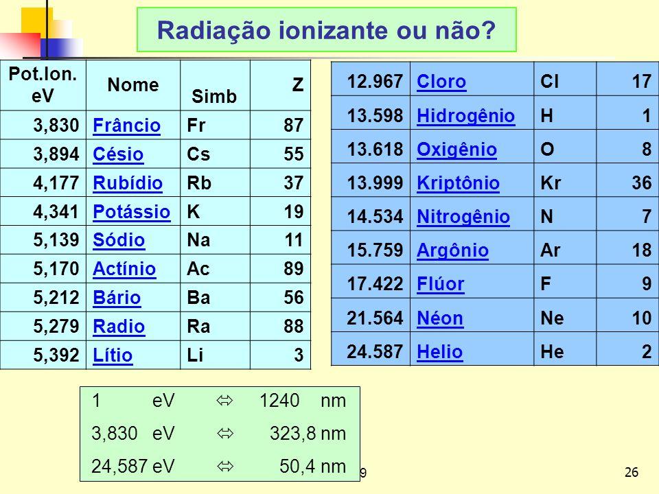 Radiação ionizante ou não