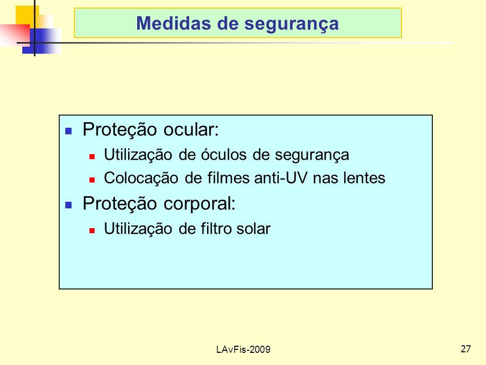 Medidas de segurança Proteção ocular: Proteção corporal: