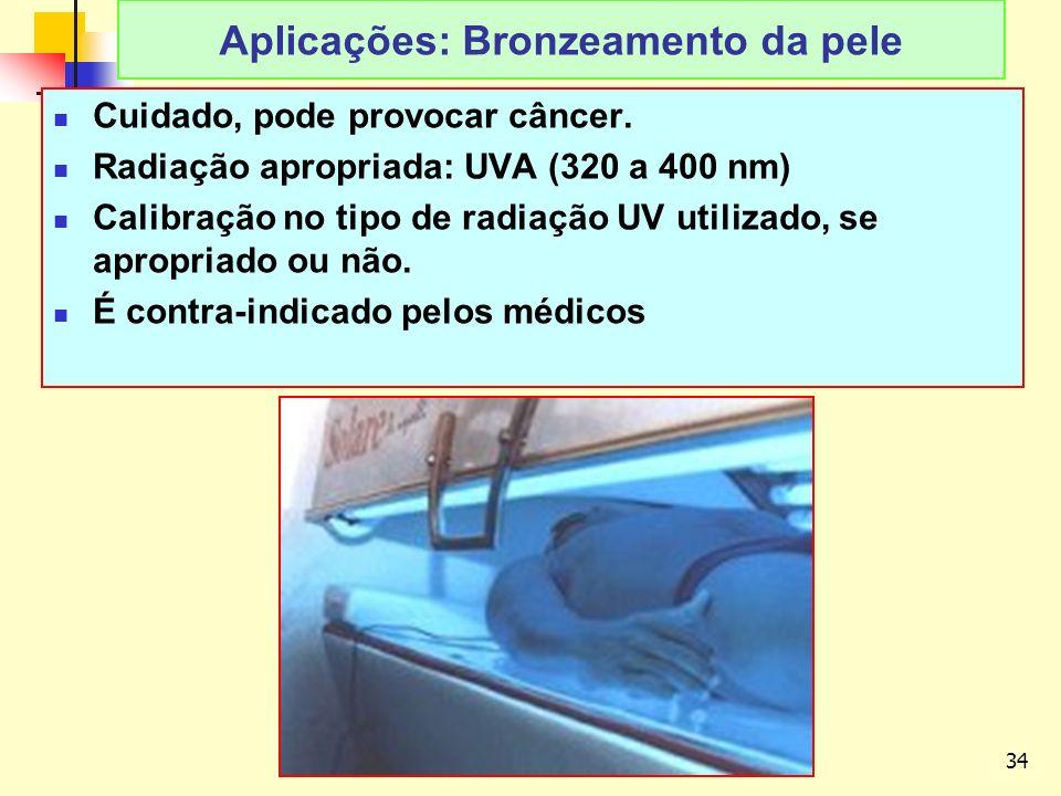 Aplicações: Bronzeamento da pele