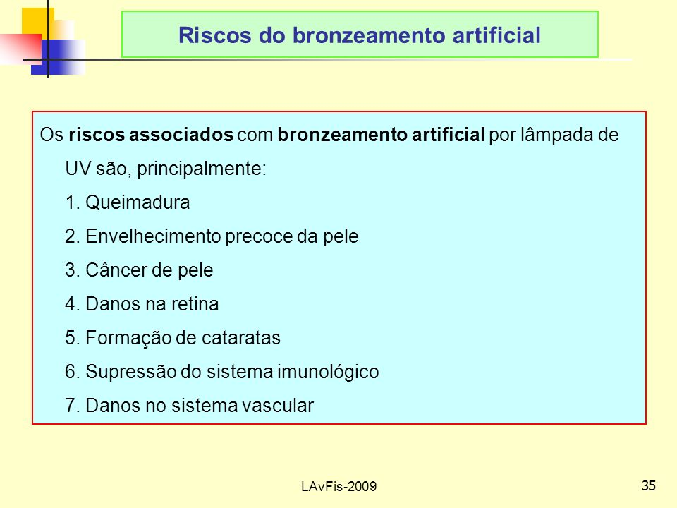 Riscos do bronzeamento artificial