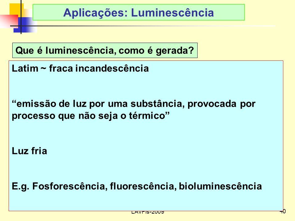 Aplicações: Luminescência