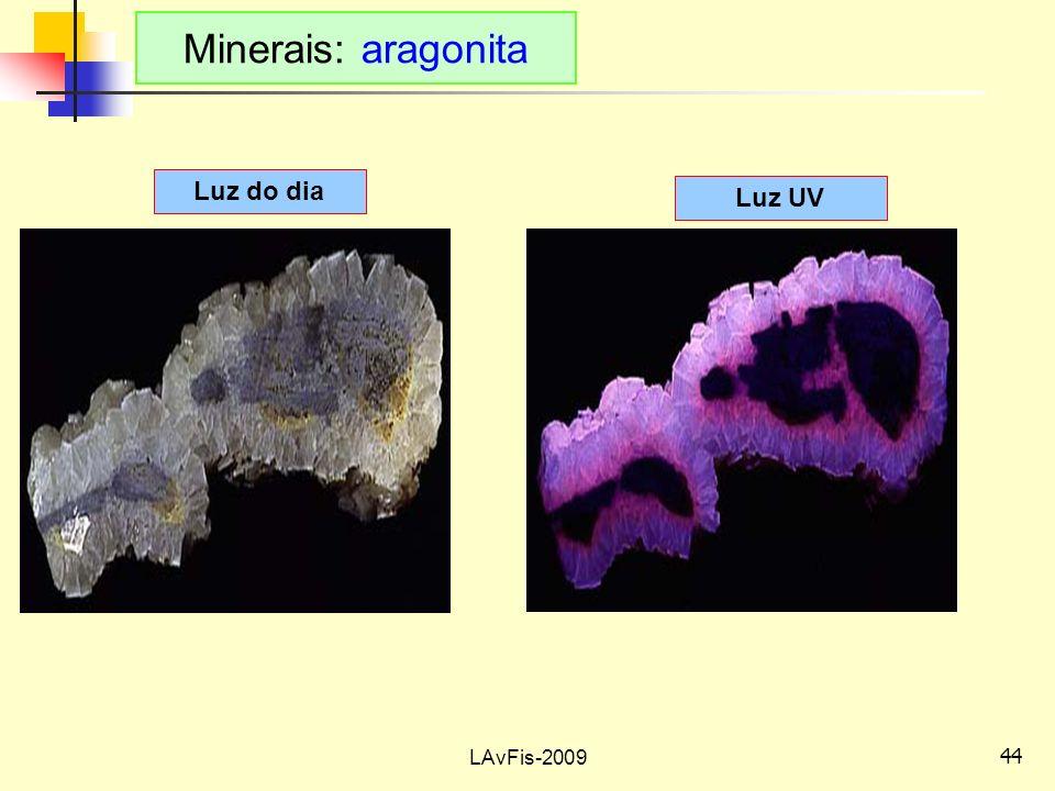 Minerais: aragonita Luz do dia Luz UV LAvFis-2009