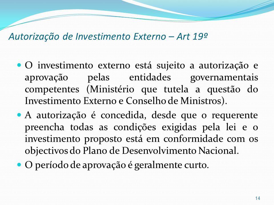 Autorização de Investimento Externo – Art 19º