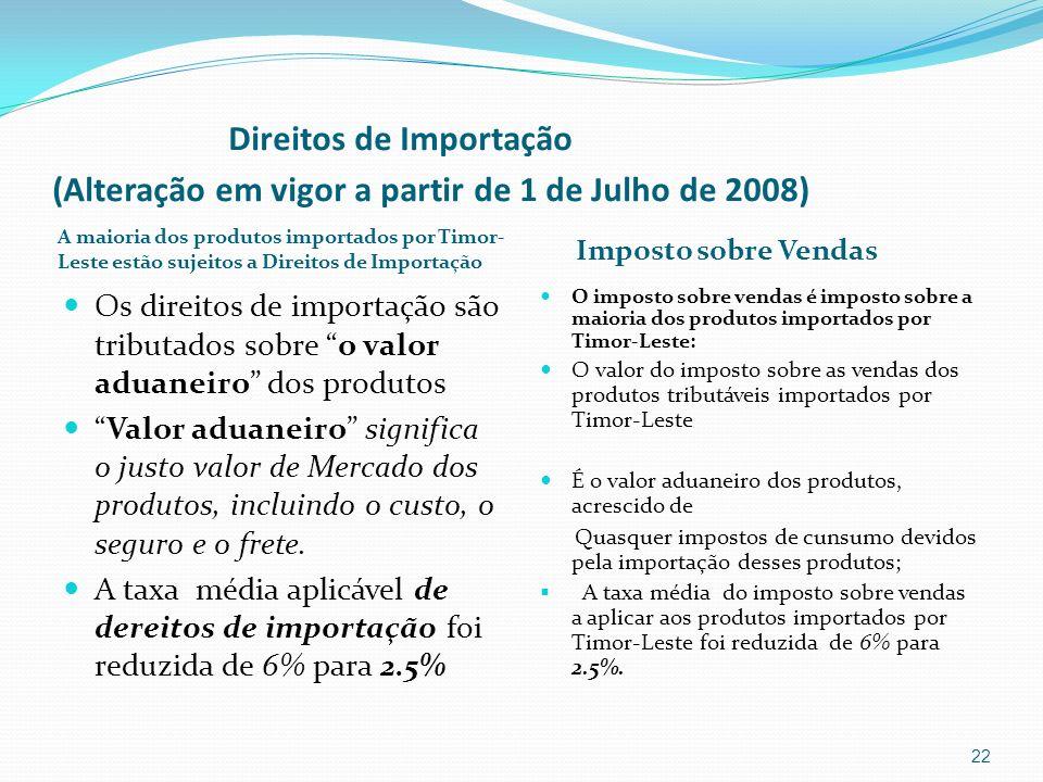 Direitos de Importação (Alteração em vigor a partir de 1 de Julho de 2008)
