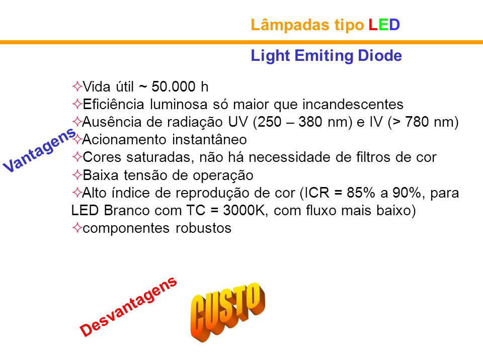 CUSTO Lâmpadas tipo LED Light Emiting Diode Vantagens Desvantagens