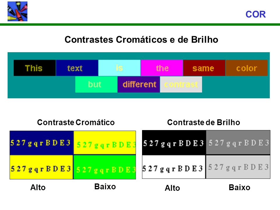 Contrastes Cromáticos e de Brilho