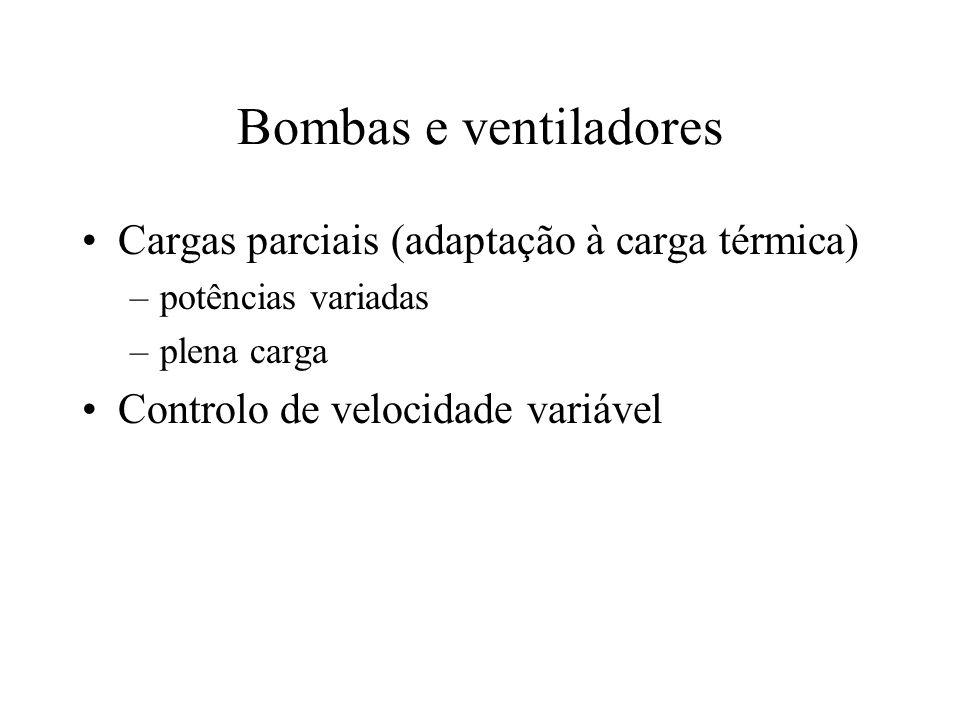 Bombas e ventiladores Cargas parciais (adaptação à carga térmica)