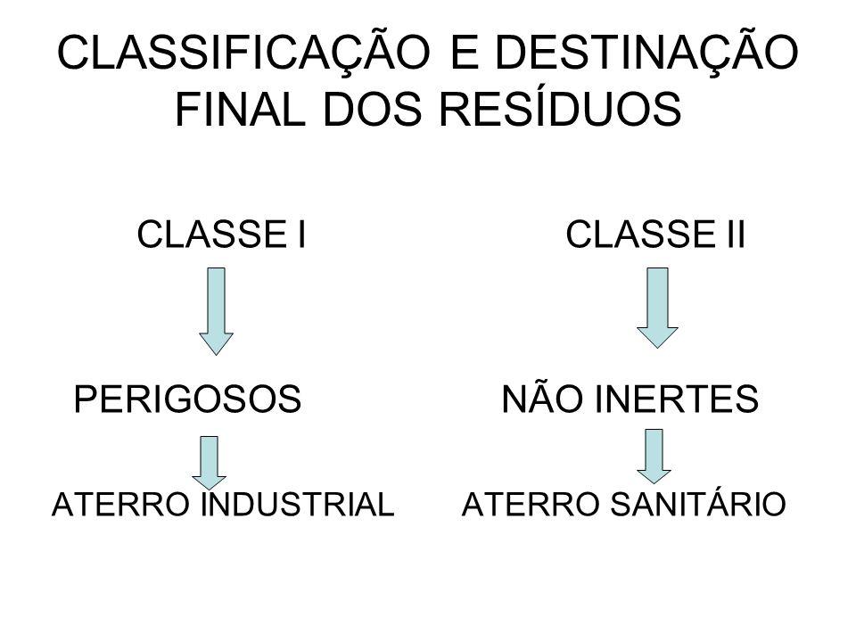 CLASSIFICAÇÃO E DESTINAÇÃO FINAL DOS RESÍDUOS