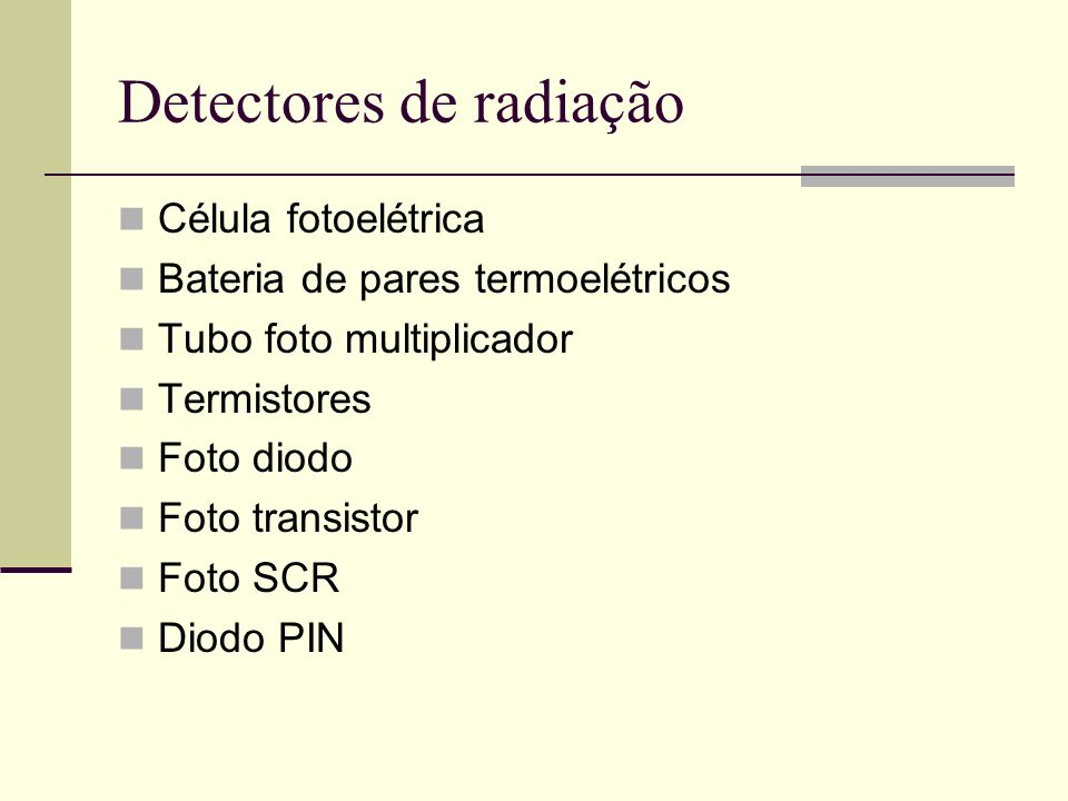 Detectores de radiação