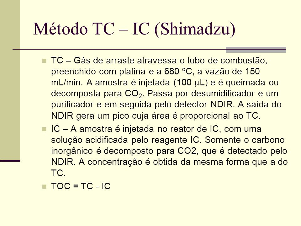Método TC – IC (Shimadzu)