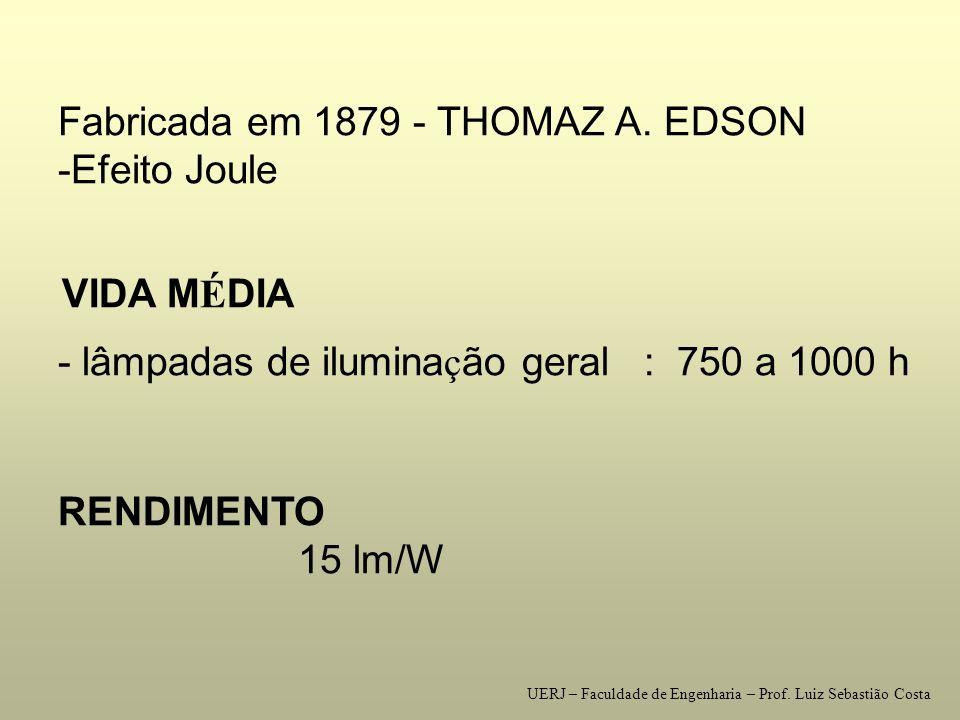 Fabricada em 1879 - THOMAZ A. EDSON -Efeito Joule