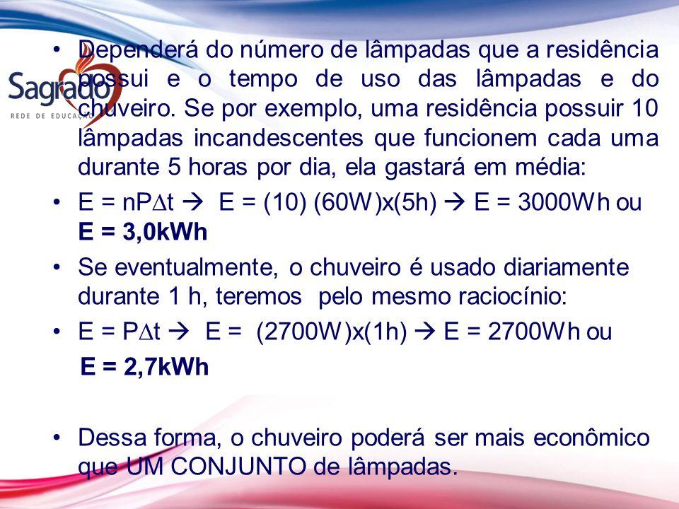 Dependerá do número de lâmpadas que a residência possui e o tempo de uso das lâmpadas e do chuveiro. Se por exemplo, uma residência possuir 10 lâmpadas incandescentes que funcionem cada uma durante 5 horas por dia, ela gastará em média:
