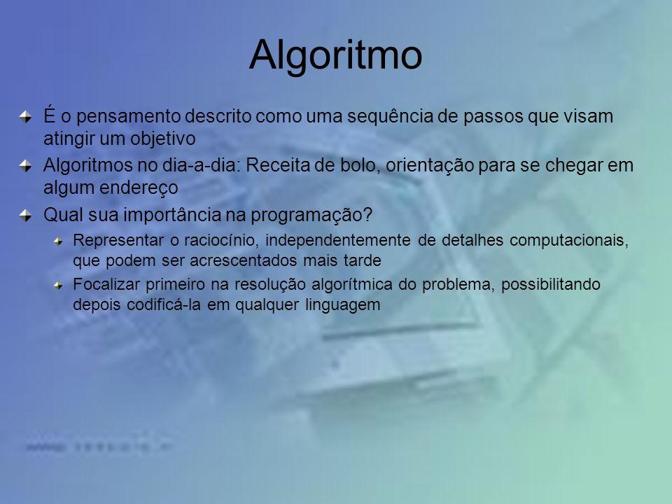 Algoritmo É o pensamento descrito como uma sequência de passos que visam atingir um objetivo.
