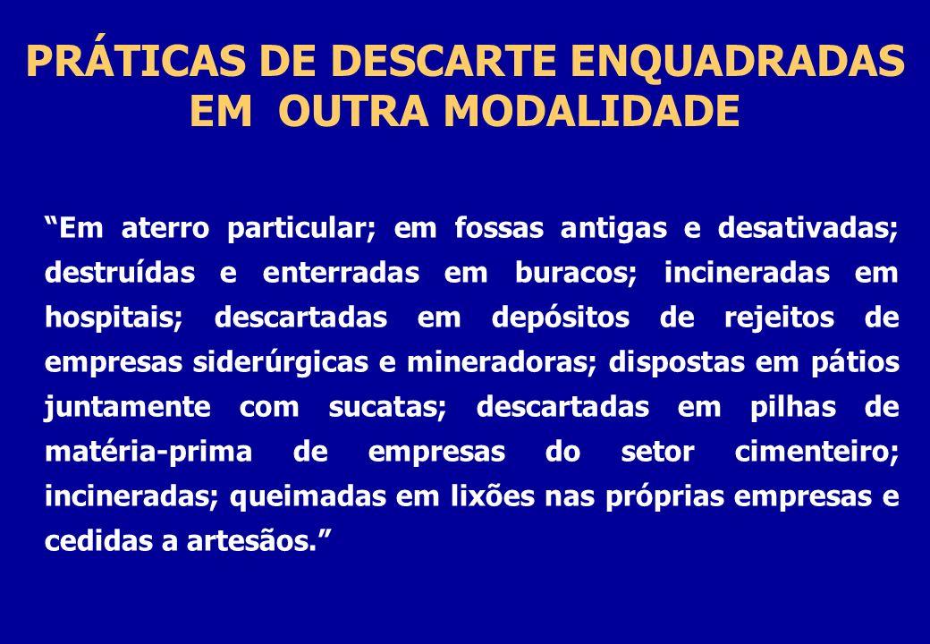 PRÁTICAS DE DESCARTE ENQUADRADAS EM OUTRA MODALIDADE