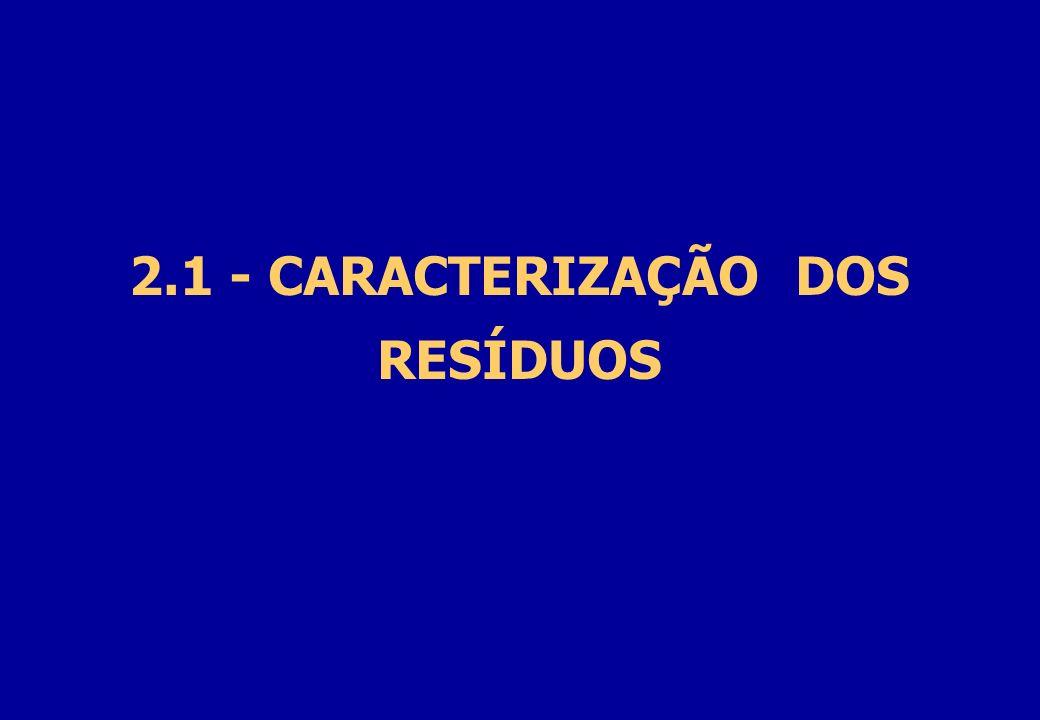 2.1 - CARACTERIZAÇÃO DOS RESÍDUOS