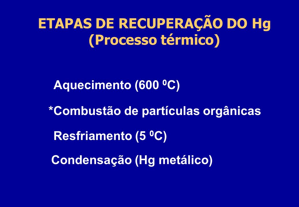 ETAPAS DE RECUPERAÇÃO DO Hg (Processo térmico)