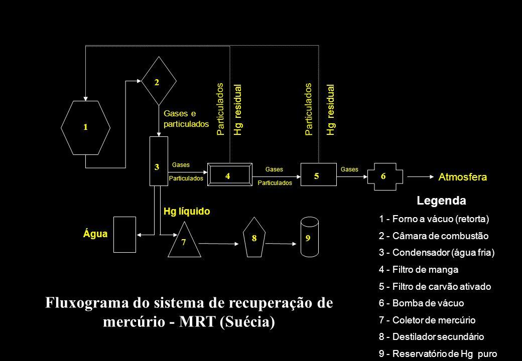 Fluxograma do sistema de recuperação de mercúrio - MRT (Suécia)