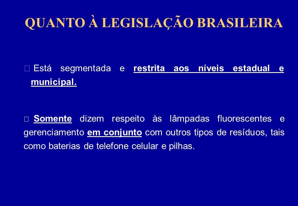 QUANTO À LEGISLAÇÃO BRASILEIRA