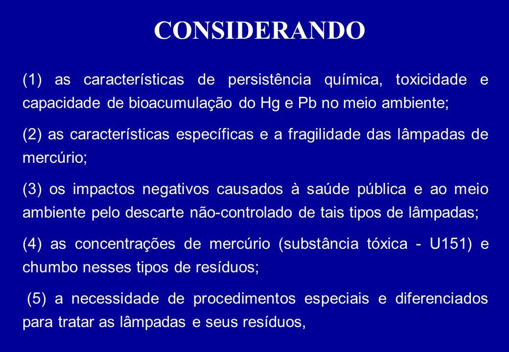 CONSIDERANDO (1) as características de persistência química, toxicidade e capacidade de bioacumulação do Hg e Pb no meio ambiente;