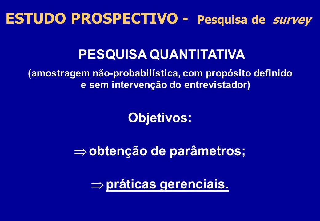 PESQUISA QUANTITATIVA obtenção de parâmetros;