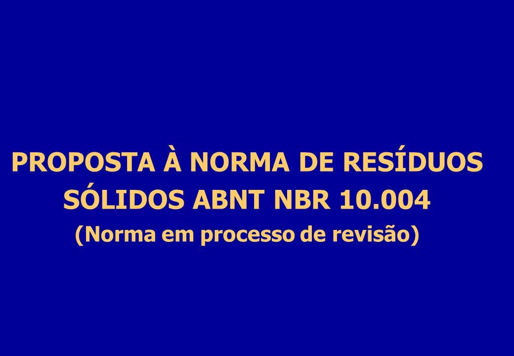 PROPOSTA À NORMA DE RESÍDUOS SÓLIDOS ABNT NBR 10