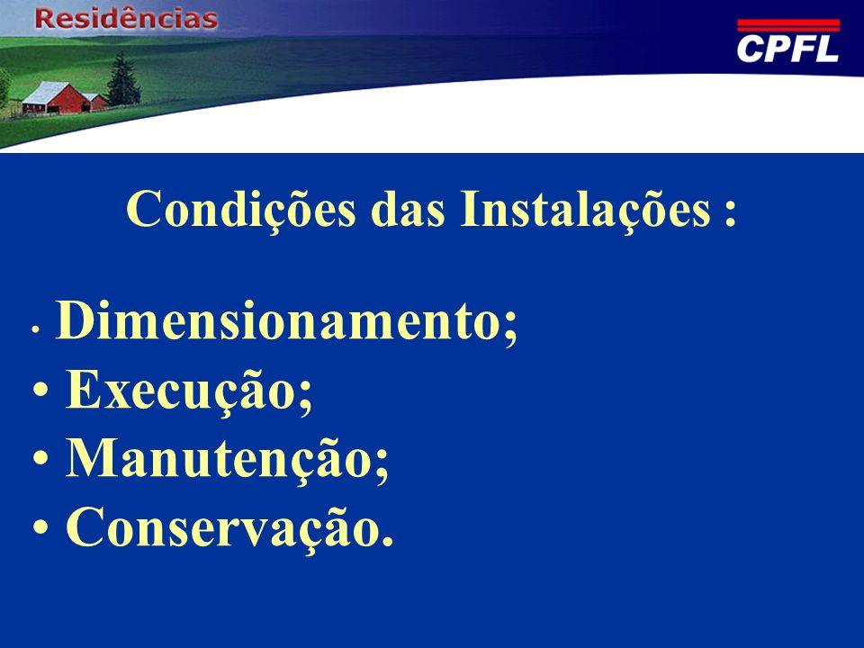 Condições das Instalações :