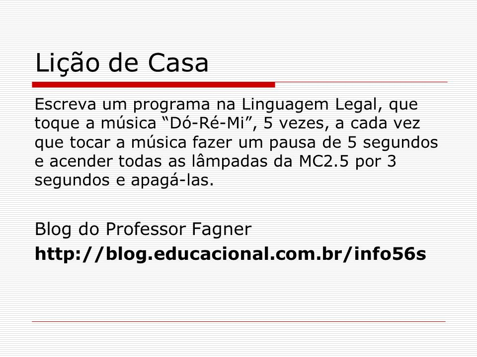 Lição de Casa Blog do Professor Fagner