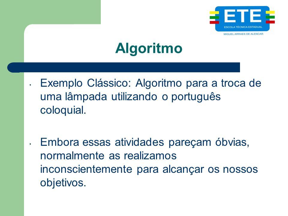 Algoritmo Exemplo Clássico: Algoritmo para a troca de uma lâmpada utilizando o português coloquial.