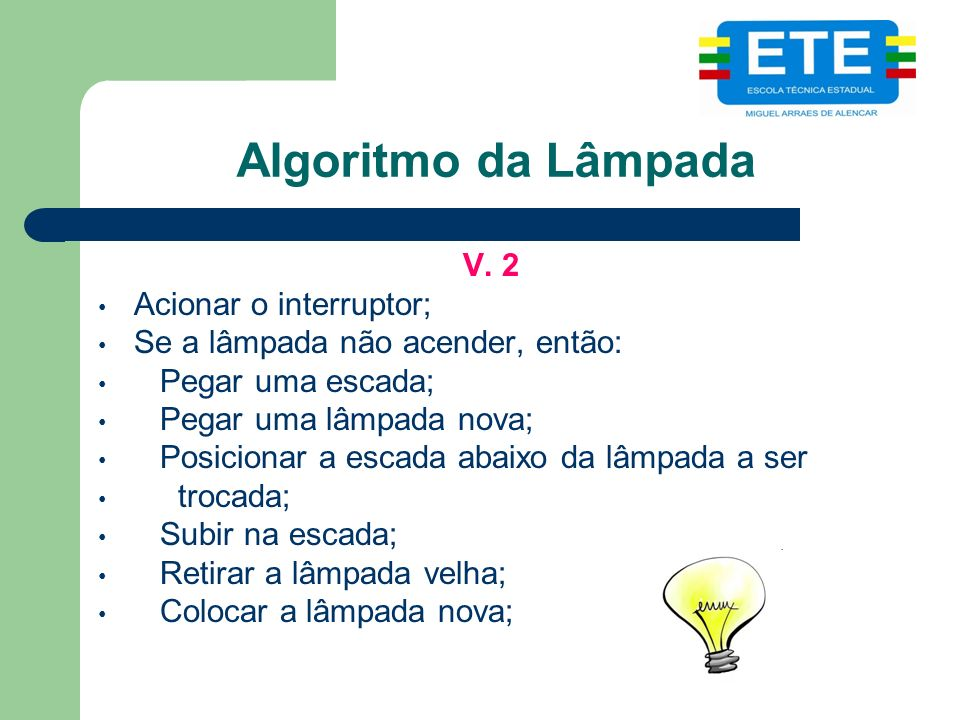 Algoritmo da Lâmpada V. 2 Acionar o interruptor;