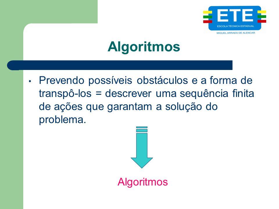 Algoritmos Prevendo possíveis obstáculos e a forma de transpô-los = descrever uma sequência finita de ações que garantam a solução do problema.
