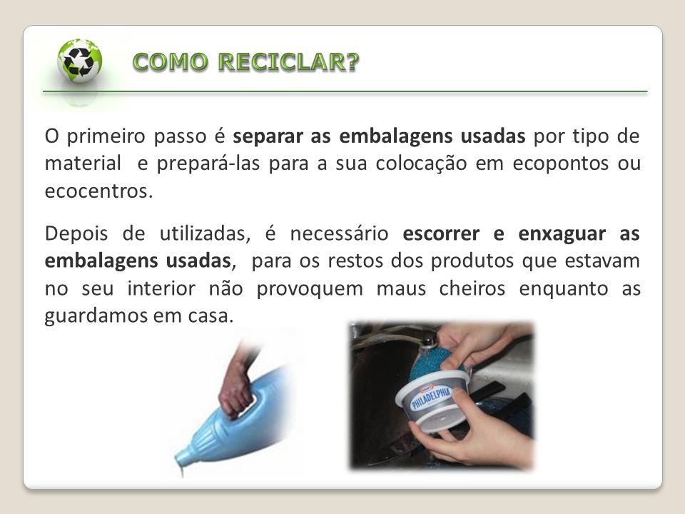 COMO RECICLAR O primeiro passo é separar as embalagens usadas por tipo de material e prepará-las para a sua colocação em ecopontos ou ecocentros.
