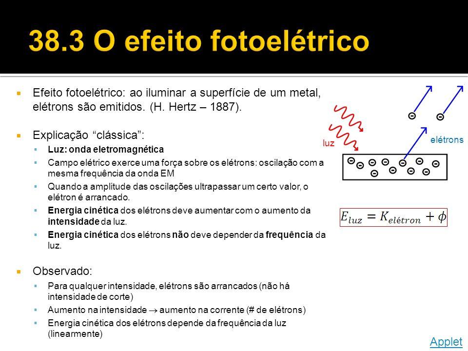 38.3 O efeito fotoelétrico Efeito fotoelétrico: ao iluminar a superfície de um metal, elétrons são emitidos. (H. Hertz – 1887).
