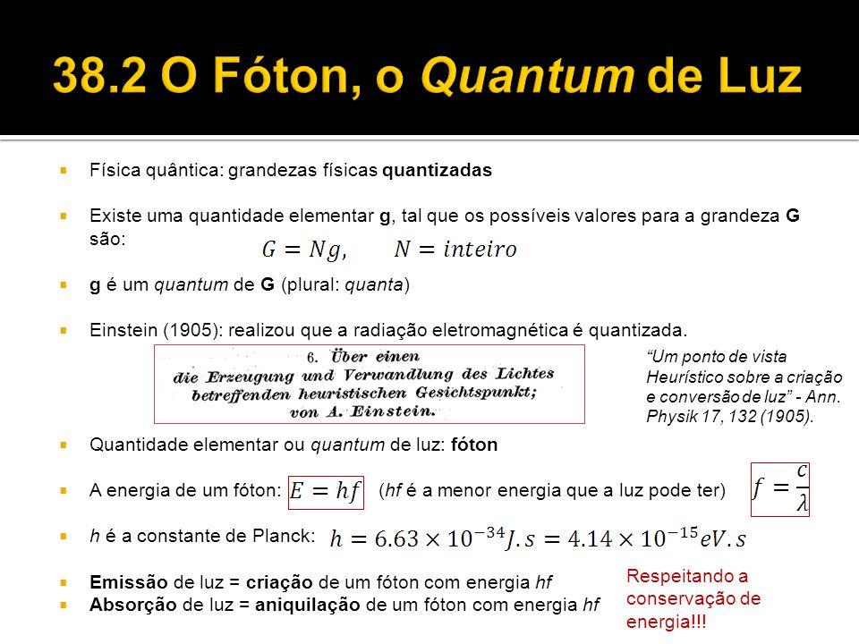 38.2 O Fóton, o Quantum de Luz Física quântica: grandezas físicas quantizadas.